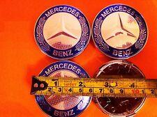 MERCEDES BLUE ALLOY WHEELS CENTER CAPS SET (4) Face 60mm Clip 58mm