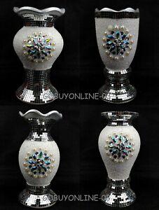 Flower Vase Flower Pot Crushed Diamond Mirror Effect Home Decor Ceramic Vase New