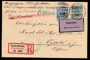 Reichspost Ganzsache 1895 ZusFr Nachnahme Einschreiben > Böhmen