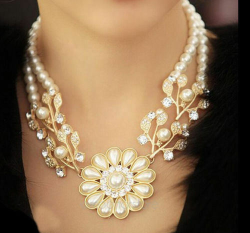 New Crystal Pearl Flower Pendant Choker Statement Bib Chain Collar Necklace Gift