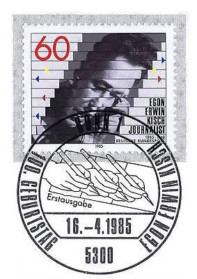 Analytisch Brd 1985: Egon Erwin Kisch Nr. 1247 Mit Bonner Ersttags-sonderstempel! 1a! 157