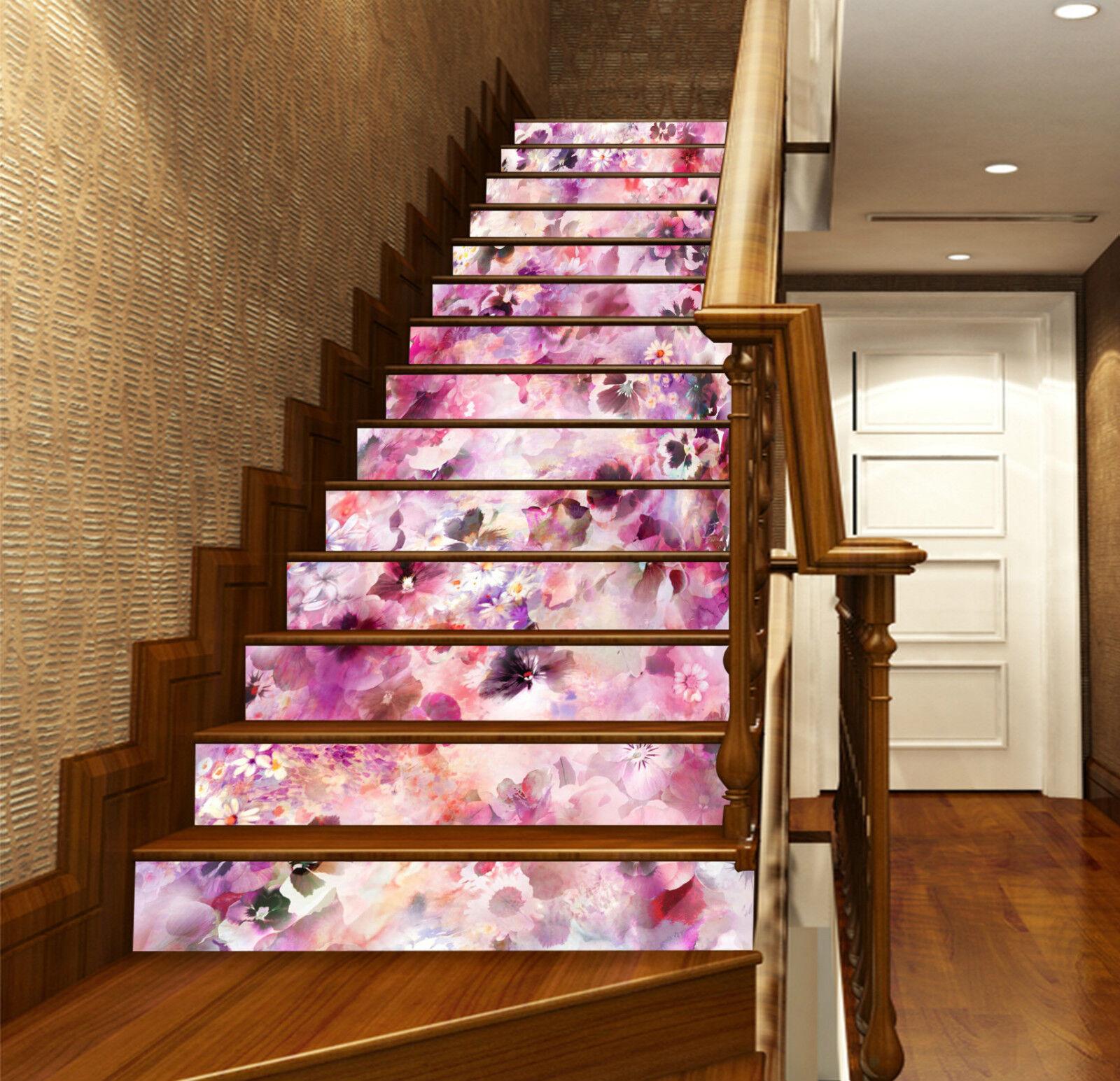 3D Helle Blüten 065 Stair Risers Dekoration Fototapete Vinyl Aufkleber Tapete DE