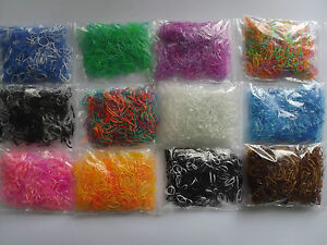 19 VARIATIONS x250 Poly Rubber Braiding Plaits Hair Elastic Bands Small Clear