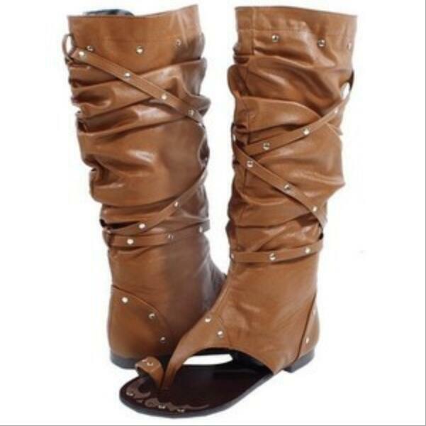 Sommer Damenschuhe Nieten Zehenring Sandalen Slipper Flach Stiefeletten Freizeit