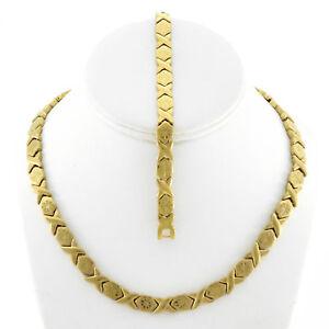 Hugs-amp-Kisses-Necklace-Bracelet-Set-Stampato-Stainless-Steel-Gold-Plated-18-034-SB