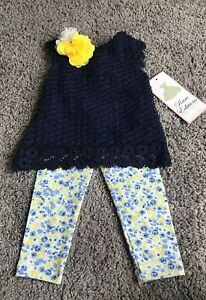 Rare-Editions-Girls-2-Piece-Spring-Outfit-Sz-12-Months-NEW-WITH-TAGS