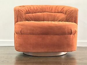 Image Is Loading Mid Century Modern Milo Baughman Style Swivel Barrel