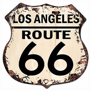Bp 0020 Los Angeles Route 66 Shield Rustic Chic Sign Bar