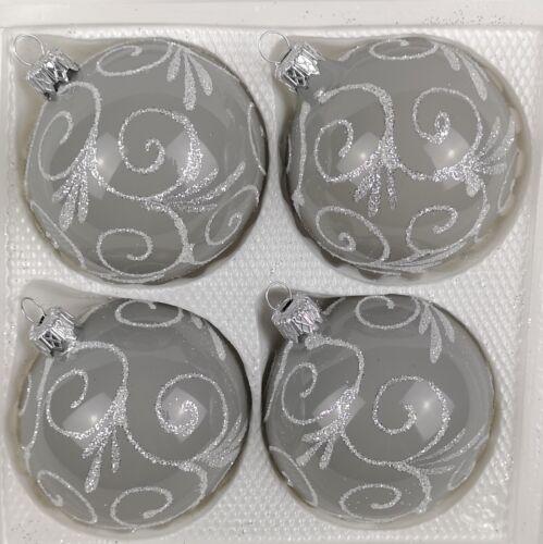 4 tlg Glas-Weihnachtskugeln Set 10cm Ø in Hochglanz Modern Grau Weisse Ornament