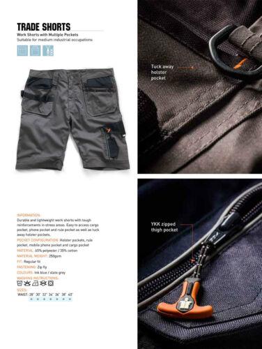 Scruffs Trade Lavoro Pantaloncini grigio ardesia doppio pacco più Tasche Combat Cargo