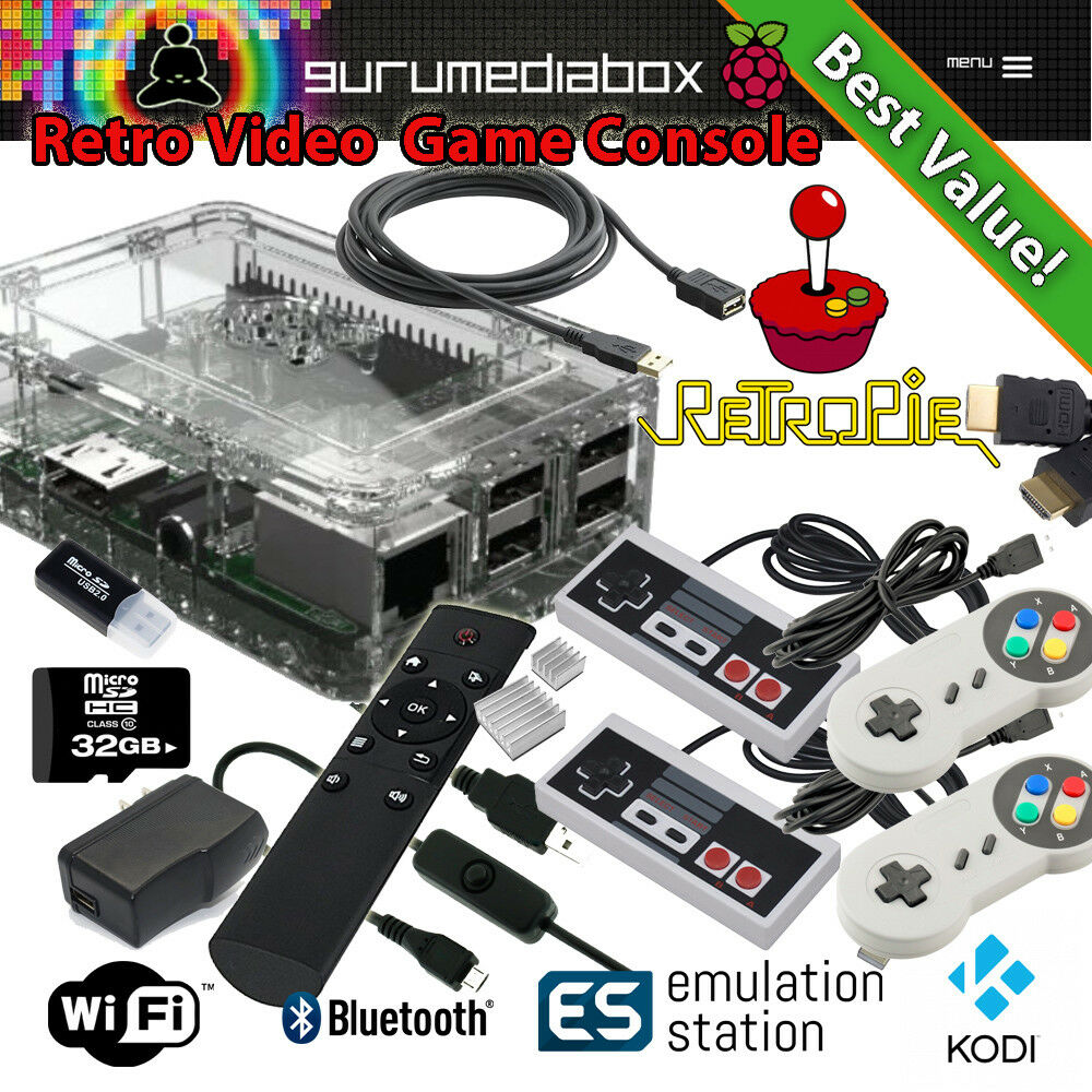 1 Raspberry Pi 3+ Video Game System-Kodi-Retropie-35 Systems Fully