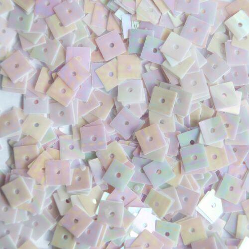 5mm Square Flat Sequins Pale Pink Lavender Rainbow Iris Shiny Opaque