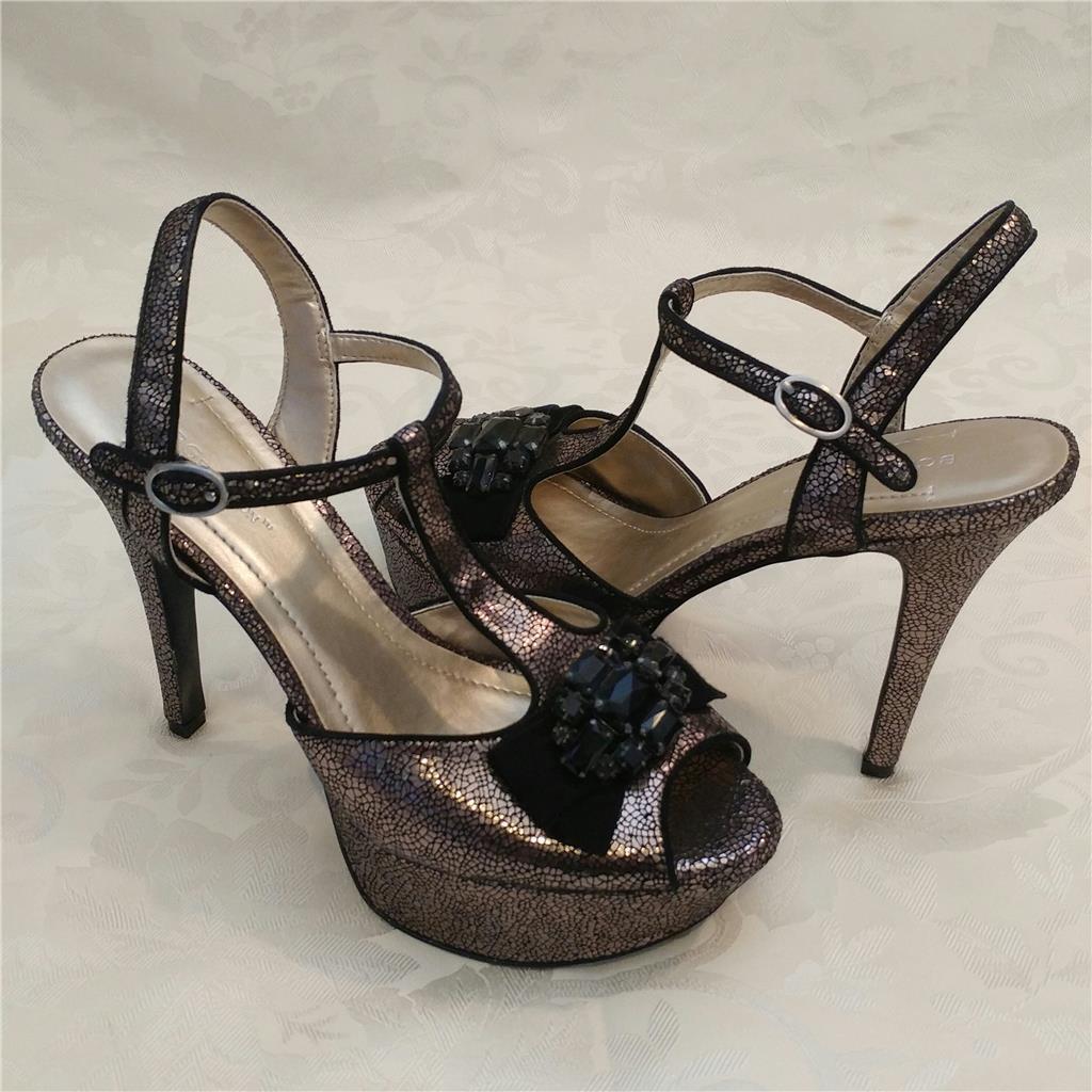 120 BCBG Generation High Heel Peep toe Platform scarpe Shiny Leather 9.5 39.5