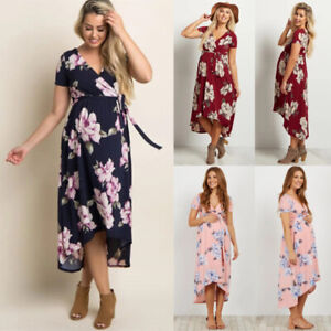 Women's Clothing Dresses Womens Pregnancy Maternity Boho Floral Wrap Dress Summer Holiday Midi Long Dress