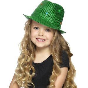 Boy-039-s-Green-Light-Up-Sequin-Trilby-Fancy-Dress-Hats-Childs-Parties-Dance-Shows