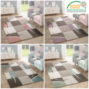 Details About Pastel Colour Living Room Rug Check Pale Pink Grey Green Purple Blue Small Large