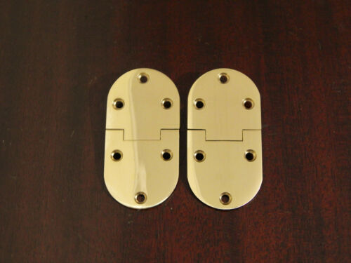 Butler Tray Hinge Round Edge Polished Brass Pair