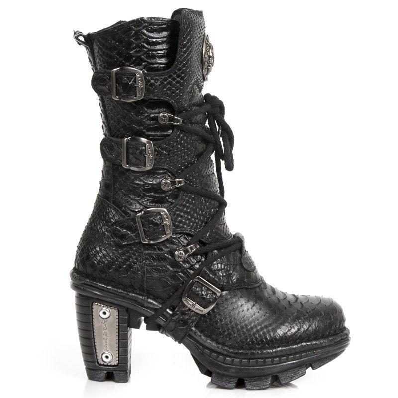 Newrock New Rock NEOTR 005-S19 Negro Python botas de cuero crudo Rock Punk Damas
