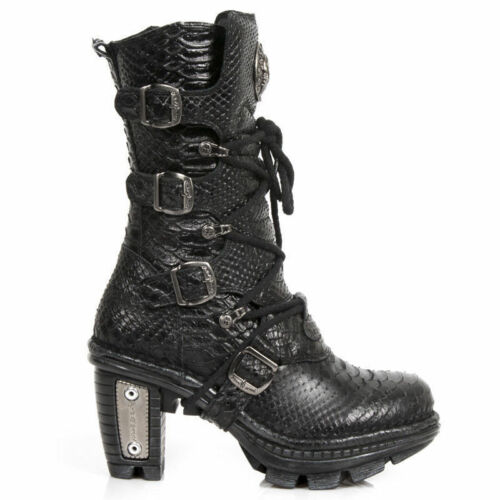 NewRock NEW ROCK NEOTR005S19 BLACK PYTHON RAW ROCK PUNK LADIES LEATHER BOOTS
