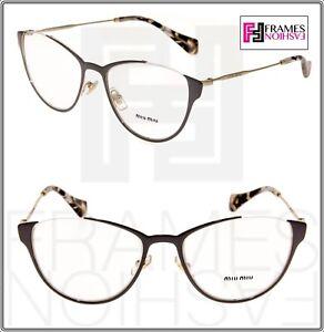 3cf4b5c578cb MIU MIU WINK MU51OV Cat Eye Eyeglasses RX Optical Frame Argil Gold ...