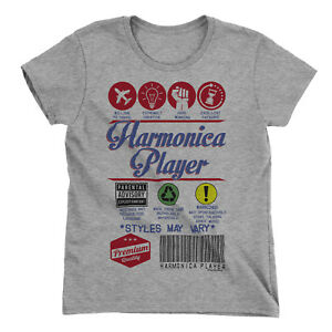 9f96cd0e Image is loading Womens-HARMONICA-PLAYER-T-Shirt-Funny-Music-Product-