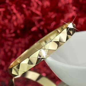 18K 18CT YELLOW GOLD FILLED SLIP ON BANGLE LADY WOMENS BRACELET DIAMOND CUT 7CM