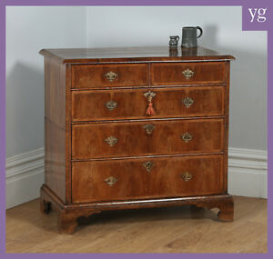Antique-English-Queen-Anne-Georgian-Figured-Walnut-Two-Piece-Chest-of-Drawers
