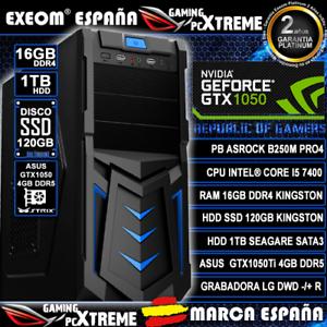 Ordenador-Gaming-Pc-Intel-I5-7400-16GB-DDR4-SSD-120GB-1TB-Asus-GTX1050-4GB-DDR5