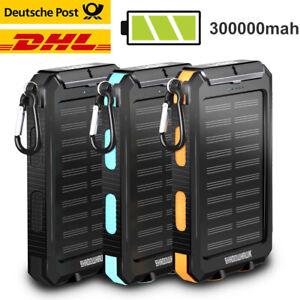 300000mAh Solar Powerbank Externer Batterie Ladegerät USB Zusatz Akku DHL Handy