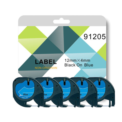 for DYMO LETRATAG label makers 1 2 or 5 tape 91205 blue plastic 12mmx 4m Compa