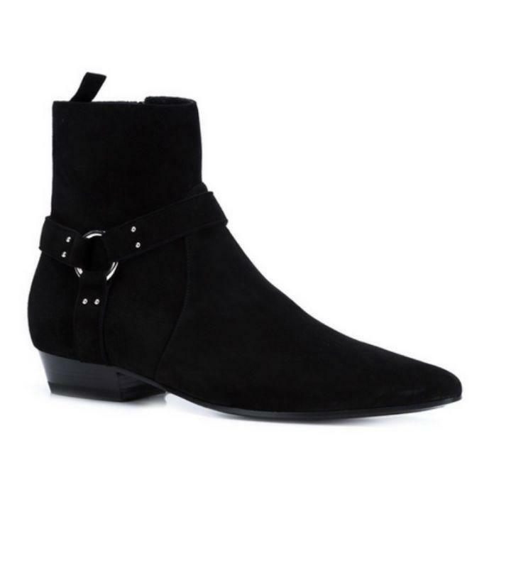 Mens Suede Leather High Top Chelsea Flats Shoes Pointed Toe Ankle Boots New Chic