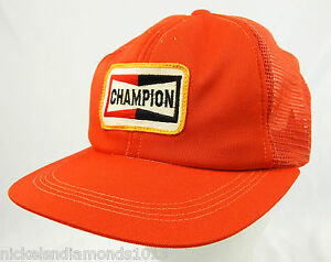 3ece5d371aeec Image is loading Vintage-NOS-Champion-Spark-Plugs-Orange-Trucker-Hat-