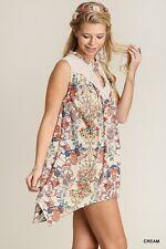 Cream UMGEE Lace FLORAL Print Sleeveless SUN Boho Hippie Shift SWING Dress M