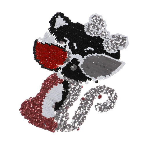 cat reversible sequined sew on patches for clothes diy sweater coat applique SE