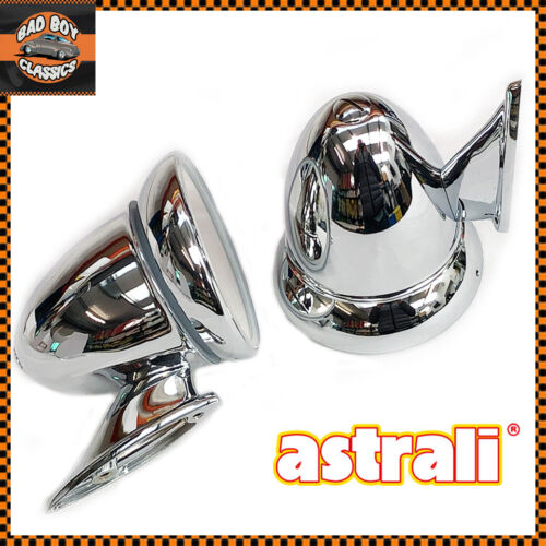 Astrali Classic Vintage Car Chrome Racing Bullet Torpedo Mirrors chrome PAIR