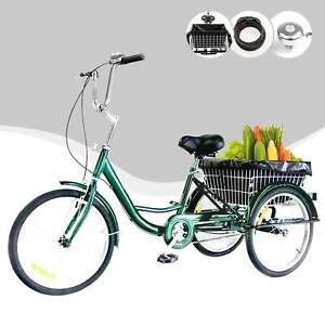 3 r der 24 dreirad f r erwachsene mit einkaufskorb fahrrad trike 3 rad dreirad ebay. Black Bedroom Furniture Sets. Home Design Ideas