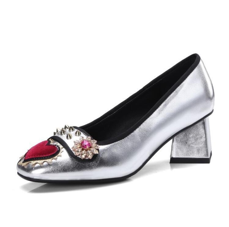 punto vendita Donna Donna Donna  Rhinestones Flowers Chunky Rivets Court Retro Heart Pumps Heel scarpe  vendita di fama mondiale online