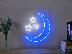 Image Is Loading New Blue Moon Stars Neon Sign For Bedroom