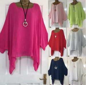 Plus-Size-Women-Long-Sleeve-Blouse-Cotton-Linen-Kaftan-Baggy-Tops-Tunic-T-Shirt