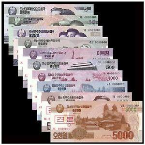 Korea Banknotes Set 10pcs (UNC)  朝鲜5-5000朝元样钞 样票含2张5000元 10张一套大全套号码全为0