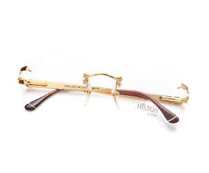 Vintage-Hilton-Park-Lane-108-02-Gold-Rimless-Eyeglasses-Optical-Frame-Lunettes