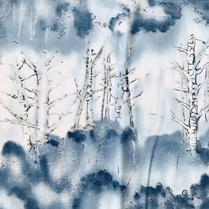 Trees-in-Icy-Blue-Fabric-Quilting-Sewing-Crafts-22-x-44-034
