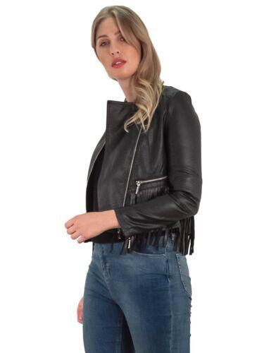 NUOVA linea donna con Cappuccio Stile Motociclista Frangia inferiore tasca con zip manica lunga Giacca