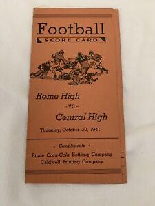 Coca-Cola-Coke-Bottling-Co-Football-Scorecard-1941-Rome-High-Vs-Central-High