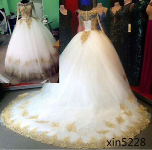 Details about Plus size Princess Gold Lace Wedding Dress Bridal Ball Gown  Arabic Custom