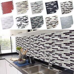 Selbstklebende vinyl mosaik 3d fliesen wandgestaltung fliesen aufkleber klebe ebay - Selbstklebende pvc fliesen ...
