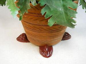 "POT FEET Ceramic Flower Planter Risers ""Birdfoot"" Design Burgundy Wine set of 4"