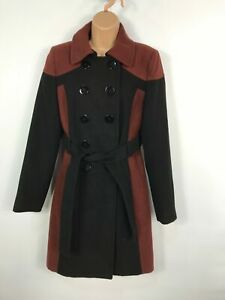 WOMENS-RED-HERRING-BROWN-BLACK-DOUBLE-BREASTED-BUTTON-UP-OVERCOAT-JACKET-SIZE-12