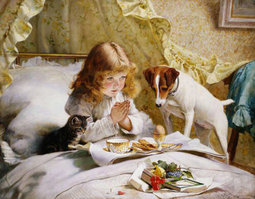 Oil painting Charles Burton Barber Suspense girl with her pet dog cat on bed