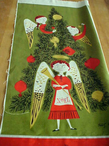 Christmas Angels Fabric Tammis Keefe MCM Tribute Reproduction Modern Miller
